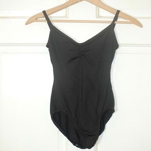 Tops - Black Strap Camisole Tuck Front Dance Leotard